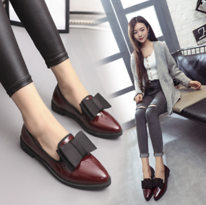2d255e890 Women Girls Bow Flats Shoes School Work Office Ladies Formal Casual ...