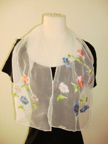 Glentex scarf Neck Wrap white sheer lace embroidered flowers pink blue purple