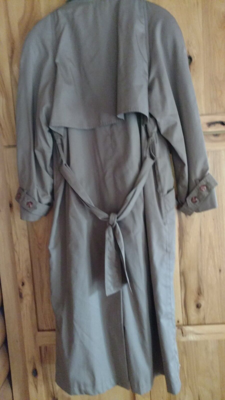 Women's Double Breasted Belted Taupe Trench Trench Trench Coat Size 12 Button in Liner 0fe335
