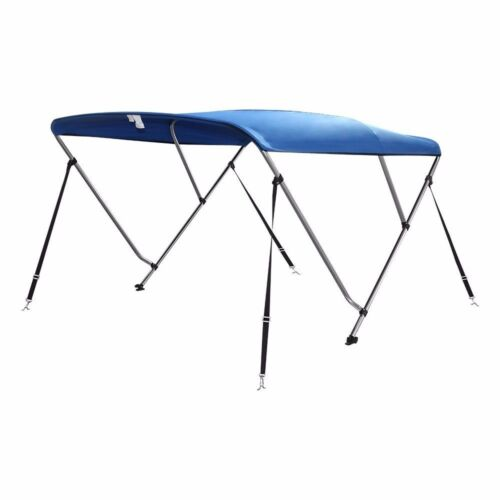 4 straps Color Pacific Blue 3 Bow Bimini Boat Top Cover with storage boot