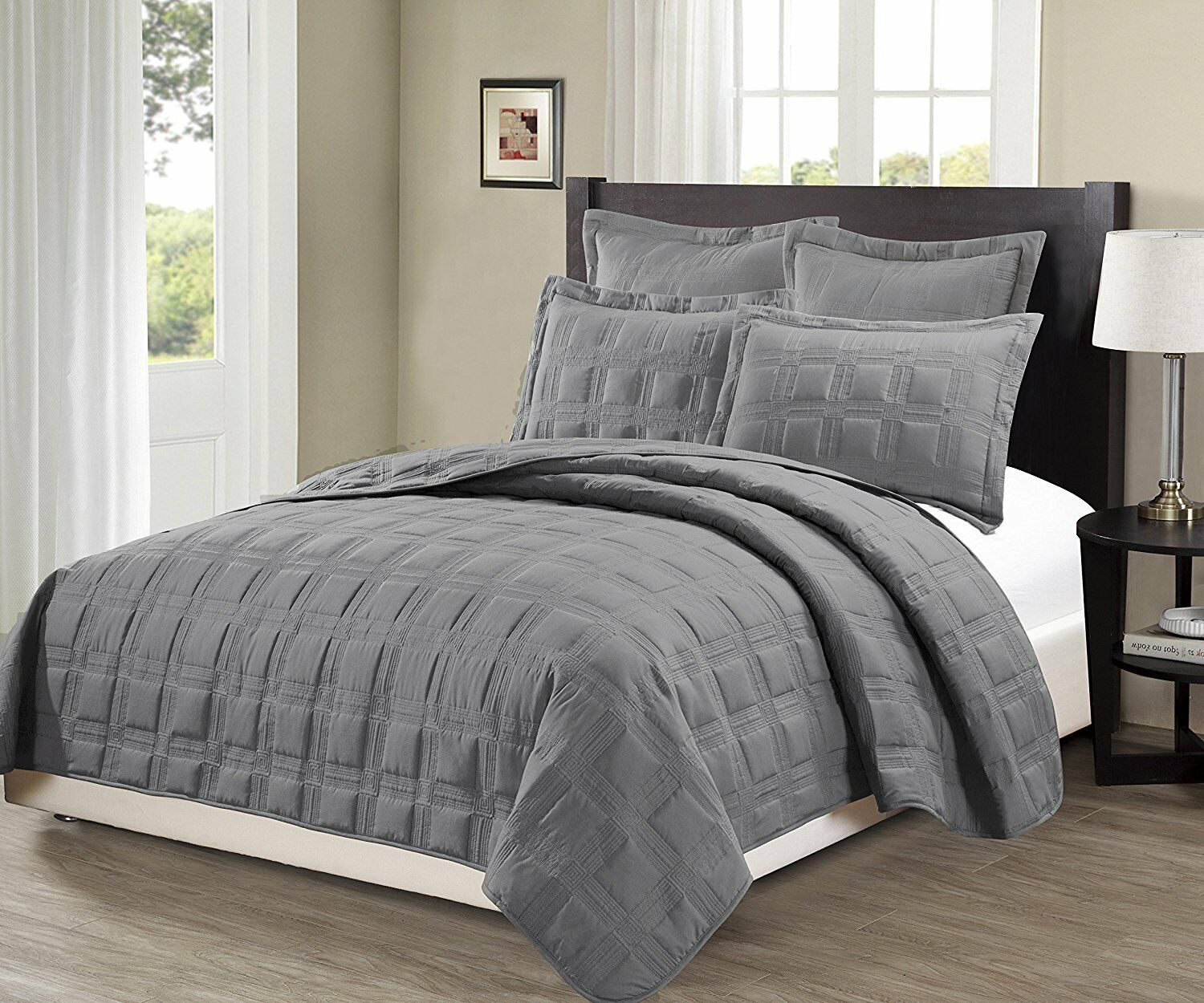 Fancy Linen 3pc OverGröße Target Quilted Embroidery Solid grau Bedspread New