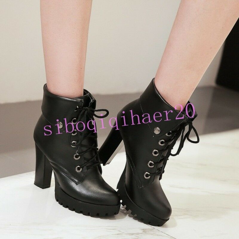 Korean Womens Ankle Boots Lace Up Platform High Chunky Heel Casual shoes US 10.5
