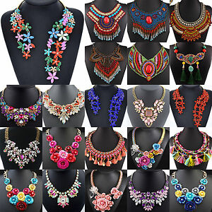 Women-Statement-Chunky-Collar-Flower-Pendant-Choker-Bib-Necklace-Chain-Jewelry-T