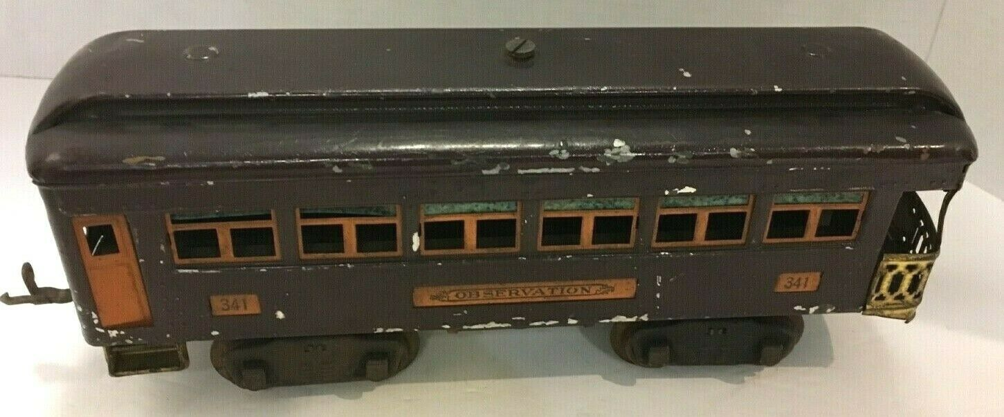 1930'S LIONEL TRAIN OBSERVATION PASSENGER CAR RARE BURGUNDY FREE SHIPPING
