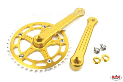 ProBMX BMX 3 Piece Aluminium Cranks Set Gold Old School BMX Style Modern Quality