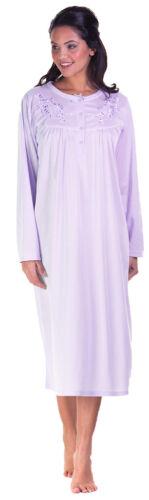 Ladies Long Sleeve Jersey Cuddleknit Brushed Nightdress Nightie Size 10-24