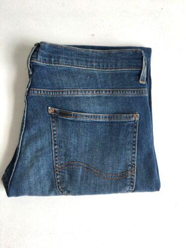 Da Uomo Lee Powell jeans blue slim hipster tragitto dritto RRP £ 80 L186 secondi