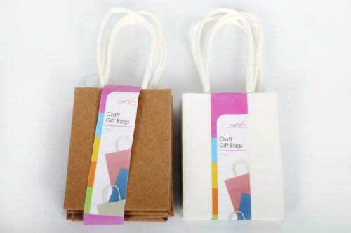 12,24 Small Craft Gift Paper Bags Natural Brown White Sweet Party Wedding Favour