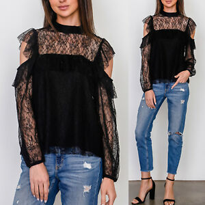 5483644bdbf76 Details about NEW Soprano Black Sheer Lace Ruffle Cold Shoulder Mock Neck  Elegant Blouse Top