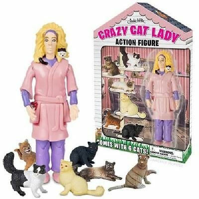 Crazy Cat Lady Action Figure With 6 Cats Purfect Cat Gag Gift By Accoutrements