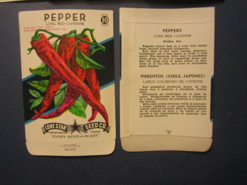 EMPTY SEED PACKETS Red Cayenne PEPPER Wholesale Lot of 25 Old Vintage