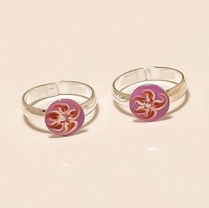 925-Sterling-Silver-Enamel-Flower-Toe-Ring-Women-Fine-Christmas-Jewelry-Gifts-AA