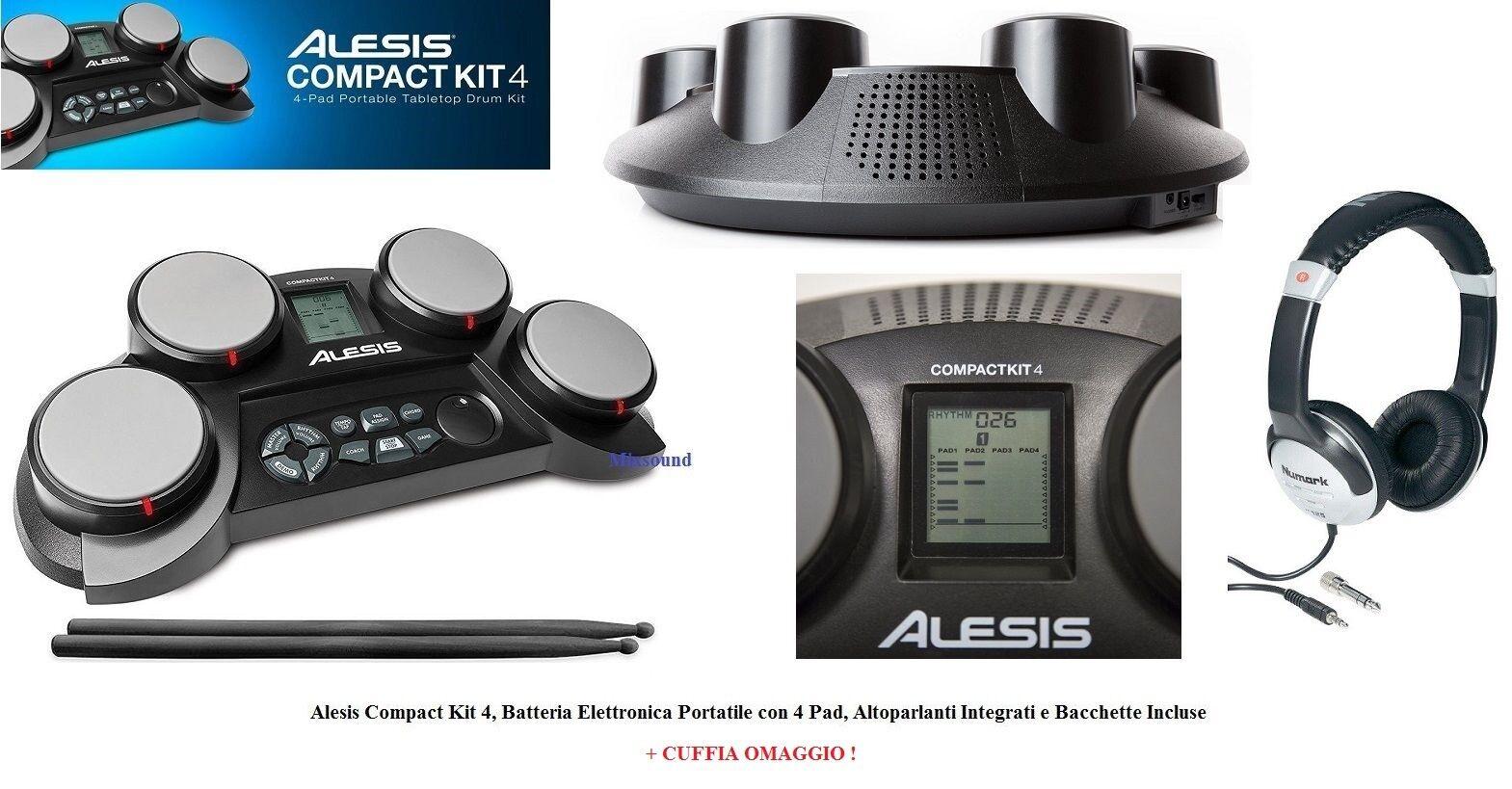 ALESIS Compact Kit 4 PAD Batteria Elettronica Percussione DA TAVOLO + CUFFIA