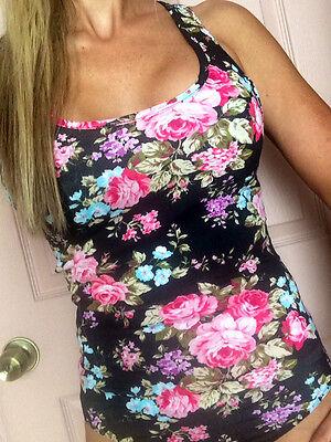 ROSES floral BODYSUIT LEOTARD racerback sleeveless / spaghetti straps S M L