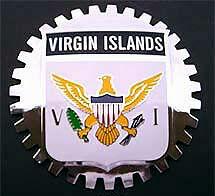 VIRGIN ISLANDS FLAG CAR GRILLE BADGE CHROME EMBLEM