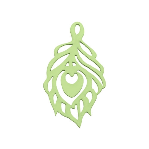 Pack of 1 Carved Wood Cut Out Leaf Pendant Green M92 51x30mm