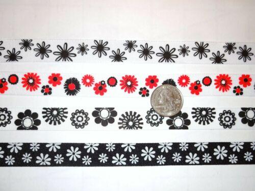 """Cinta del grosgrain 5//8/"""" pulgadas Negro Blanco Margaritas Flores Floral arcos tres metros"""