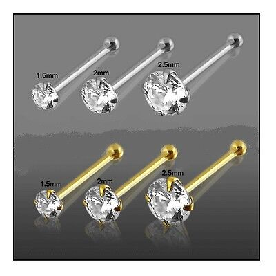 1x 22g 6mm 9K Solid Yellow Gold 2.5mm Round CZ Nose Stud Ring Pin Bar 9KGBN050