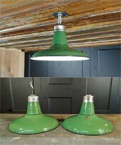 Details About Vintage Goodrich Green Porcelain Enamel Barn Light 14 Industrial Gas Station