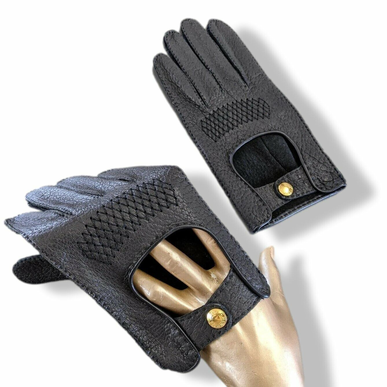 Hermes Men's Noir/Or Leather GANTS HOMME CLOUS DE SELLE Gloves sz 095 NEW