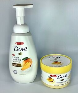 Dove Instant Foaming Glowing Mango Butter Body Wash And Body Polish 2 Item Lot Ebay