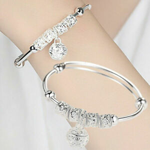 925-Silver-Bangle-Bracelet-Charm-Bridal-Womens-Girl-Jewellery-Gift-Boho-New
