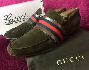 b2c3cfe1754 Image is loading Mens-Brown-Suede-Gucci-Web-Loafers-Sz-8-