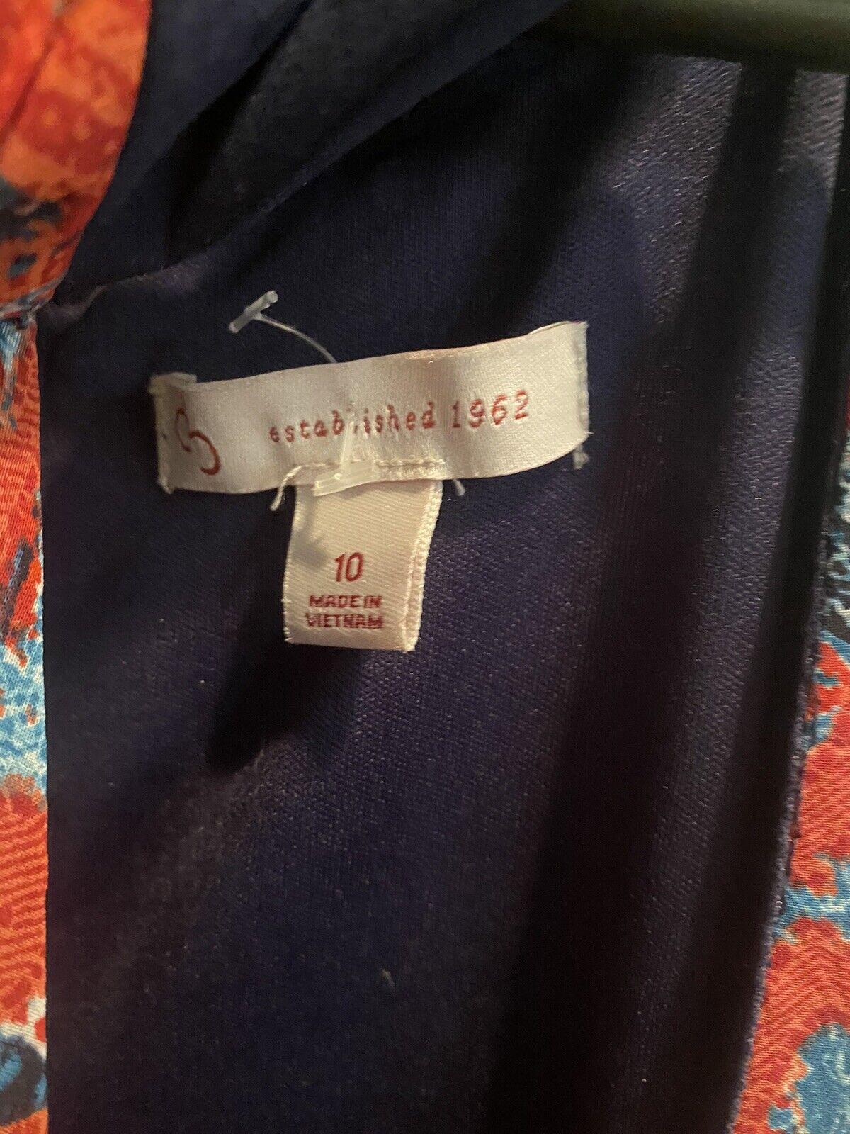 Cb Established 1962 Dress Sz 10 Red & Blue Sheer … - image 8