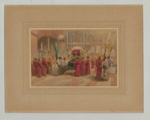 Fine-Early-20th-Century-Watercolour-Catholic-Funeral-Interior