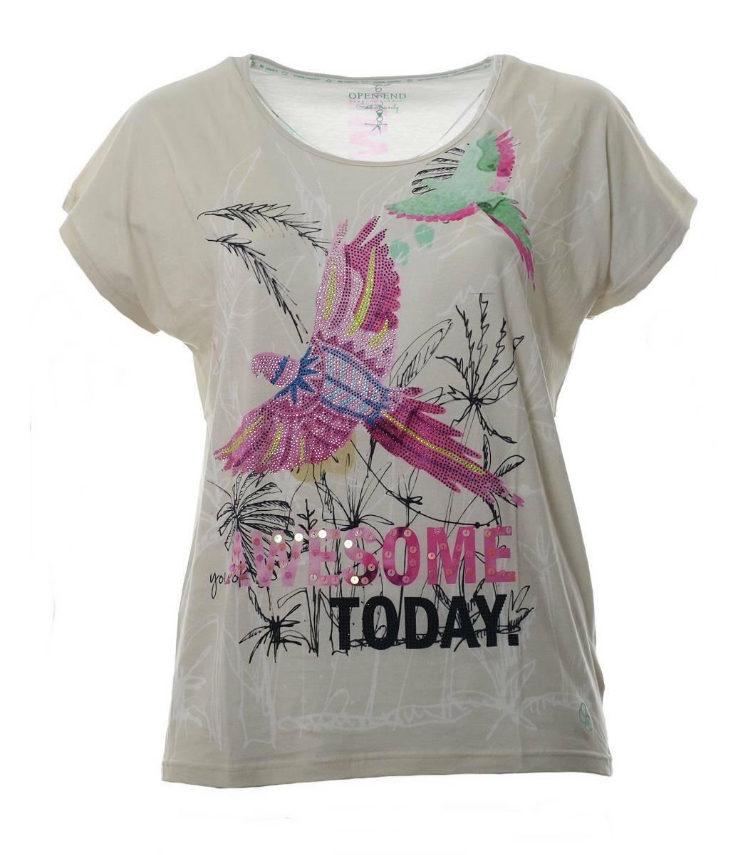 T-Shirt Damen Beige mit Strass Papagei große Größen