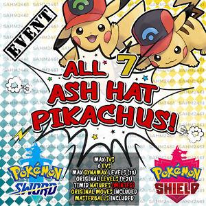 POKEMON-SPADA-E-SCUDO-039-tutti-i-7-039-Cappello-Ash-Pikachu-evento-Bundle-6IV