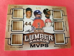 KEN-GRIFFEY-JR-Johnny-Bench-FRANK-THOMAS-Willie-McCovey-ROBINSON-6-BAT-CARD-LEAF