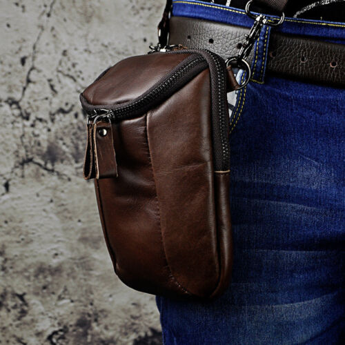 Men Vintage Small Hook Messenger Bag Genuine Leather Fanny Waist Bag Pack Pouch