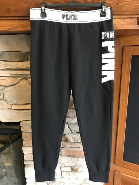 Victoria s Secret PINK Solid Black White Logo Band Gym Pant Lounge  Sweatpants M 7a7bbf645