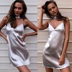 Womens Sexy Sleepwear Halter Choker Dress Satin Chemises Slip Pajama Nightgown