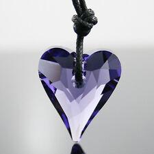 Violet Purple Heart Swarovski Crystal Necklace Pendant
