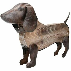 Details About Rustic Wood Metal Hand Crafted Dachshund Dog Garden Sculpture Ornament