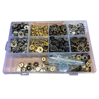 200 X 15mm /&12mm Mix Snap Fasteners Studs Button with Hand Fixing Tool Box UK