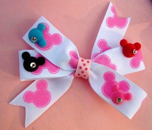 20 Pink /& Blue Velvet Mickey Ear Head Flatback Button//Craft//Scrapbook//Mouse B35