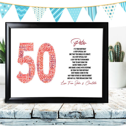 Personalised 10th Birthday Gifts Any Name Word Art For Boy 11th 12th 13th Print