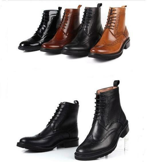 4 color Womens Leather Lace Up Wing Tip Brogue Ankle Boots Oxfords shoes SZ35-39