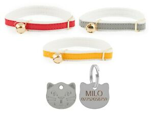 Cat-Collar-Ancol-Felt-Backed-Red-Yellow-Or-Silver-With-22mm-Cat-Face-Id-Tag