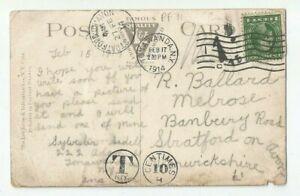 US 1914 la armería Tonawanda NY Banbury Road Stratford en Avon Reino Unido Postal