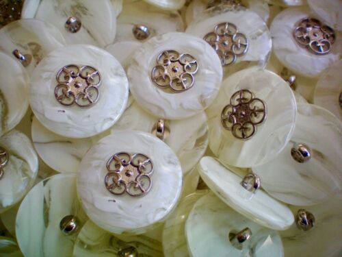 25mm 40L Ivory White /& Silver Metal Flower Shank Dress Jacket Coat Buttons K13