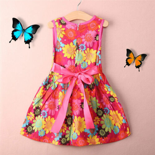 Toddler Kid Girl Summer Princess Floral Lace Pierced Party Dress Age 2-7 Years c