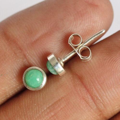 Beautiful 5MM Genuine Green Chrysoprase 925 Sterling Silver Earring Jewelry 299