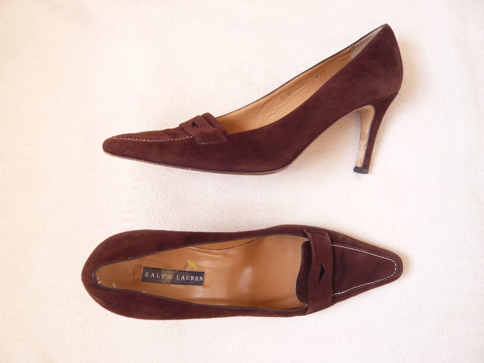 Ralph Lauren Gamuza Zapatos Tribunal De Gamuza Lauren Marrón o bombas Forro De Cuero + 7.5 Soles en muy buena condición 5e47ec