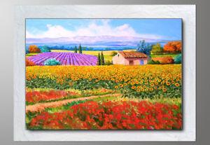 Dettagli su QUADRI MODERNI paesaggio toscana olio su tela con cornice  GIRASOLI PAPAVERI
