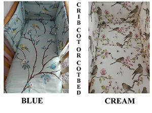 New Vintage Birds Crib Cot Or Cot Bed Bedding Set Duck Egg