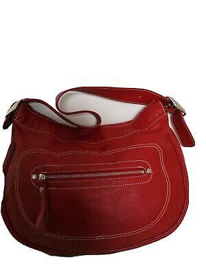 Sac longchamp Rodeo 4x4 en cuir grainé rouge très bon état porté épaule |  eBay